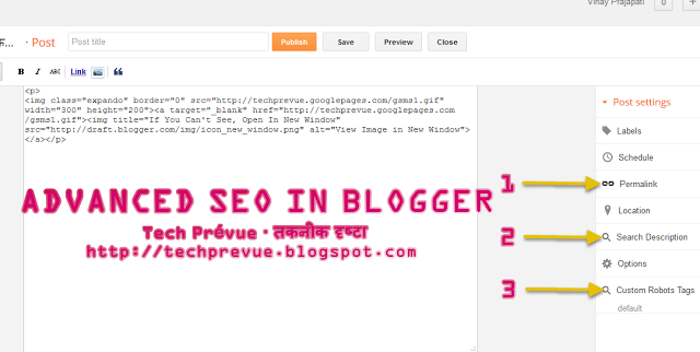 Blogger's Advanced SEO Features