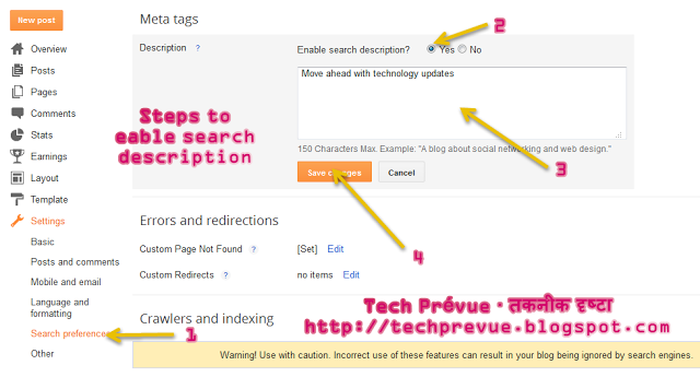 Enable Search Descripiton in Blogger
