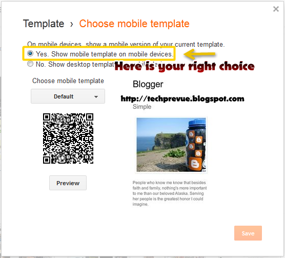 Selecting YES to enable mobile version in blogger