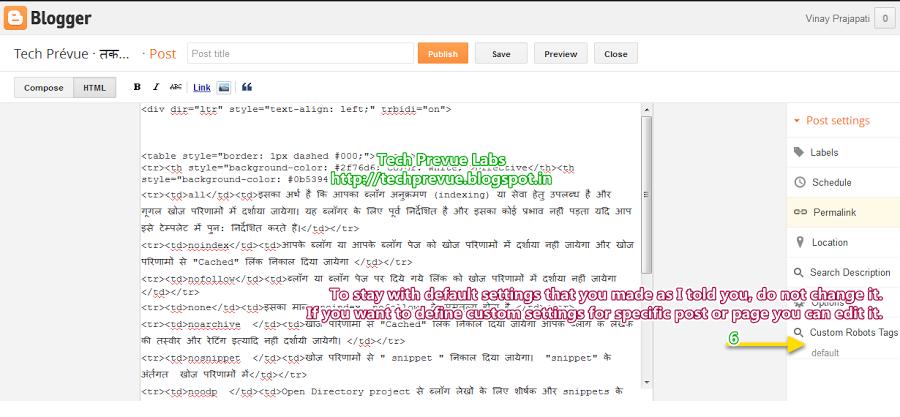 Custom Robots Header Tags Management in Blogger