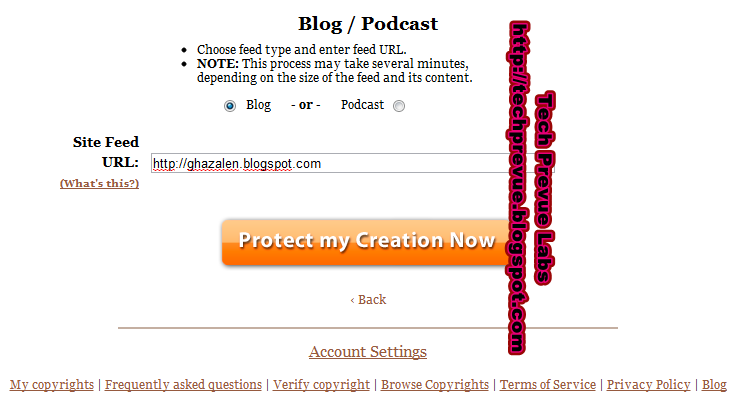 myfreecopyright enter blog address or feed