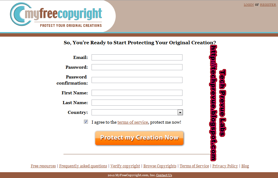 myfreecopyright registration