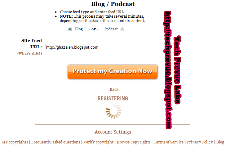 myfreecopyright blog registration