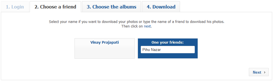 Facebook2zip.com Selected Friend Profile