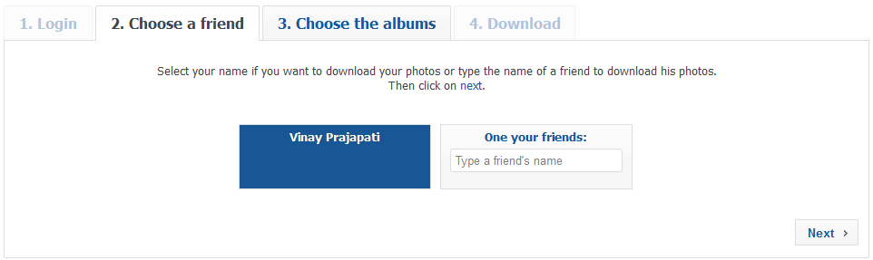 Facebook2zip.com Selected Own Profile