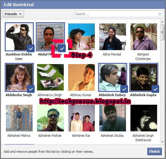 Facebook Edit Restricted Friendlist fot Public Updates