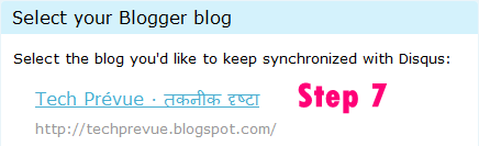 Select blog to Start Comments Syncing
