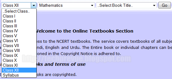 Select Class for which you want to read/download NCERT textbook