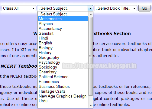 Select Subject for which you want to read/download NCERT textbook