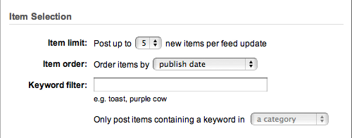 Feedburner Auto Tweet Item Selection