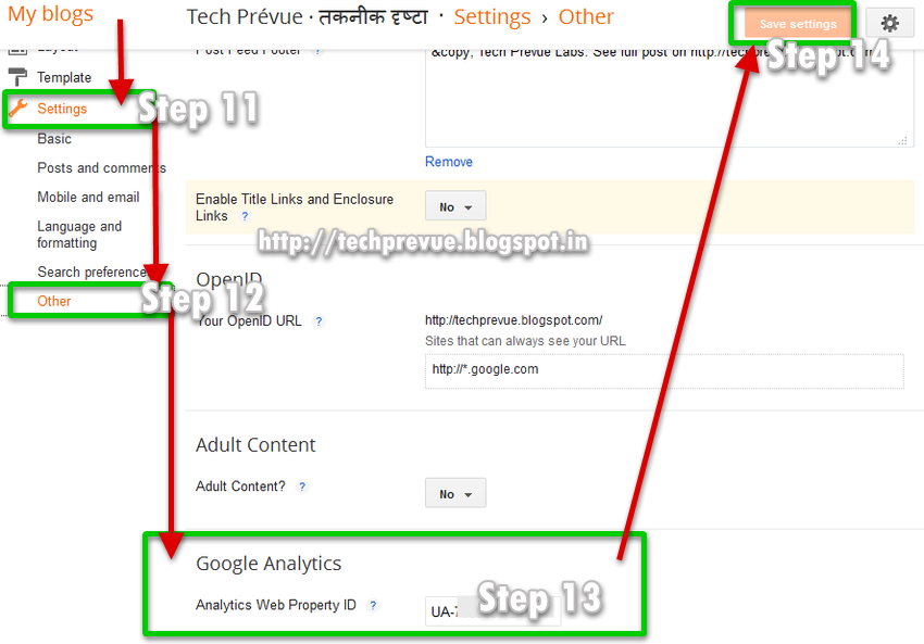 Step 11, 12, 13 and 14 - Install tracking ID or Analytics Web Property ID in Blogger settings