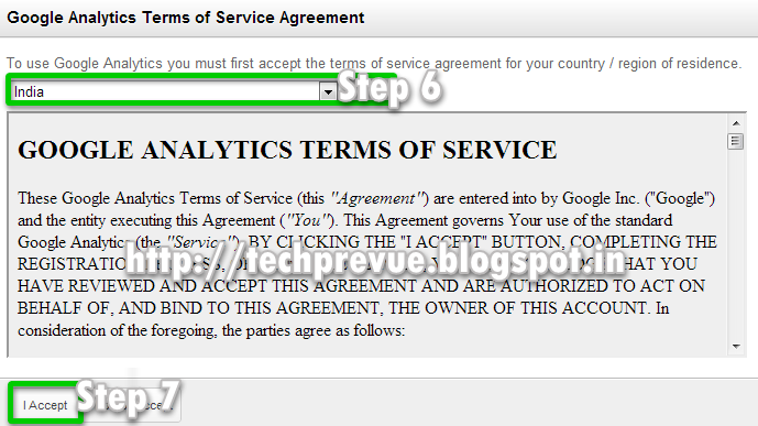 Step 6 and 7 - Select your country and accept license agreement