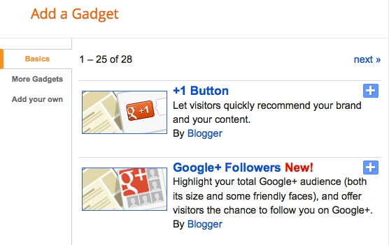 Select Google+ Followers Gadget - How to add Google+ Followers Gadget?