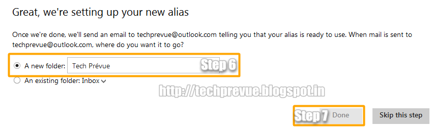 Outlook.com Email Alias - Create Email Folder