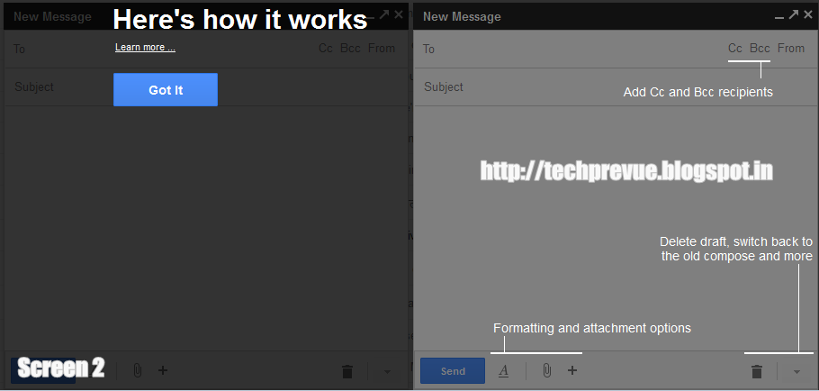 Google Mail New Compose and Reply Options