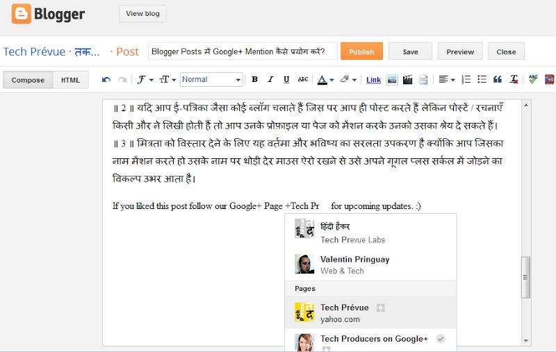 Google+ Mention inside Blogger Posts