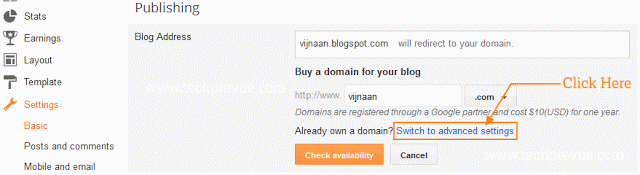 Click switch to advance settings if already have domain name