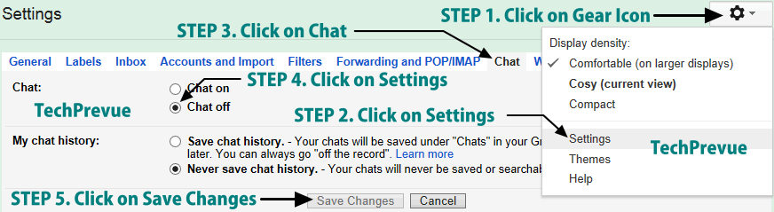 Turn off Gmail Chat