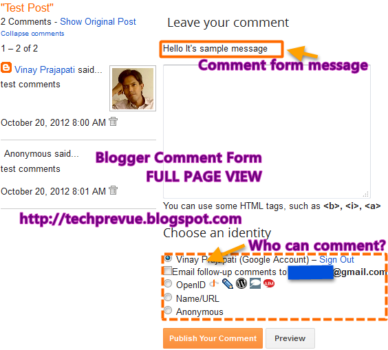 Blogger Full Page Comment Form