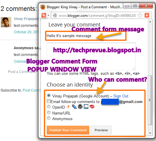 Blogger Popup Window Comment Form
