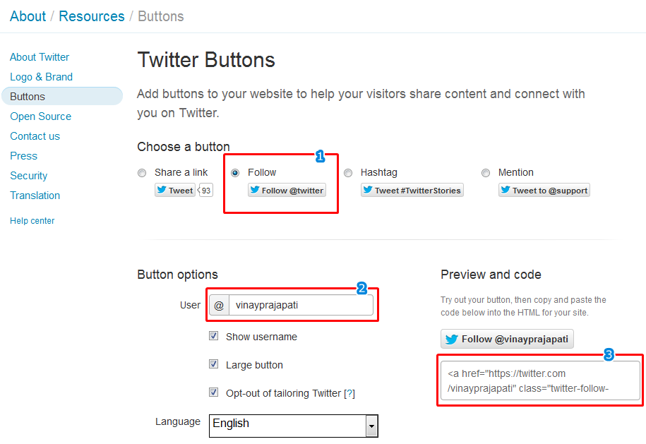 Twitter follow button resource page preview