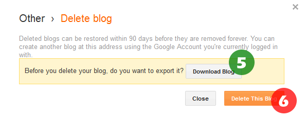 Final steps to download and delete blog