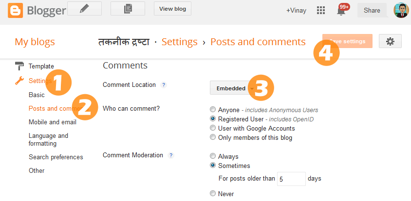 Enable embedded comment location for Blogger