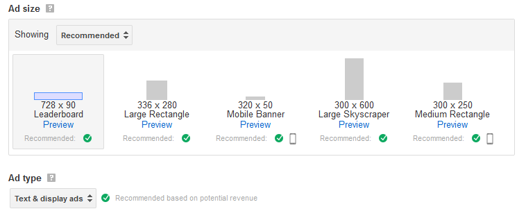AdSense Popular Ad Sizes