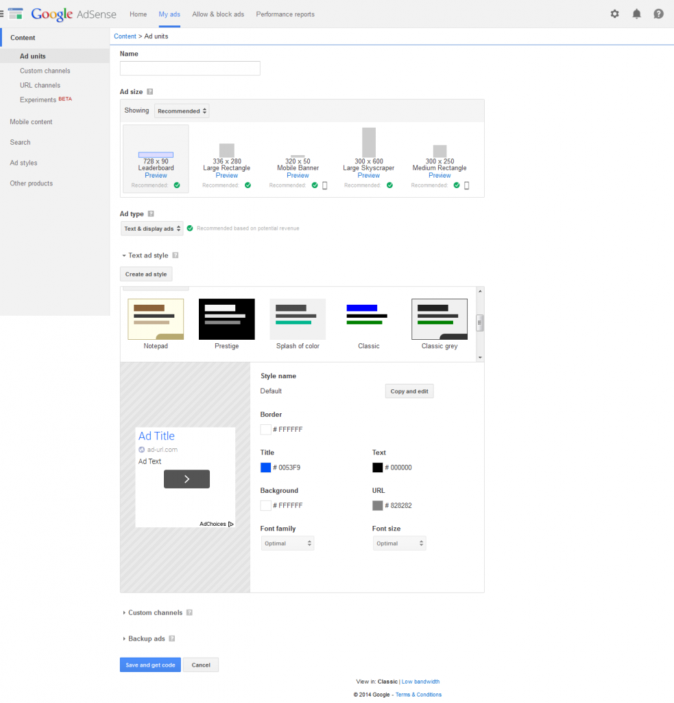 AdSense New My Ads Tabs