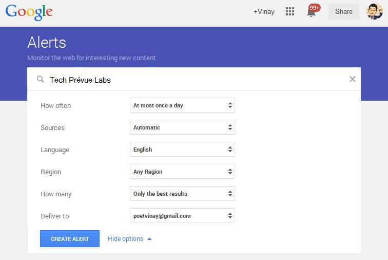 Google Alerts to Prevent Negative SEO