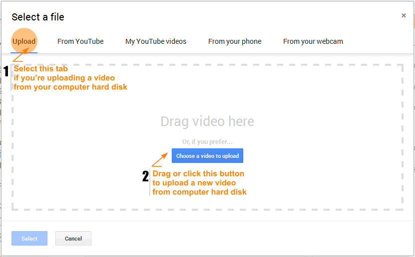 Blogger - Upload a new video into blog post