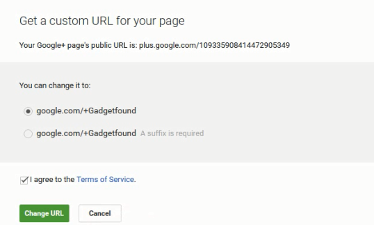 Change Google+ Custom URL