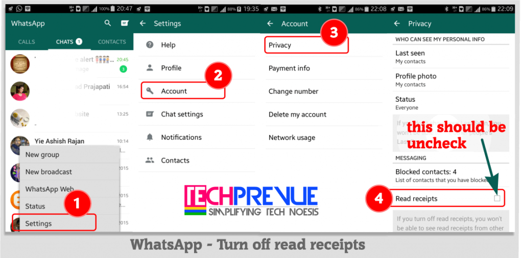 WhatsApp Turn off read receipts