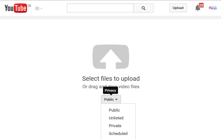 YouTube - Select Files to Upload and set Privacy