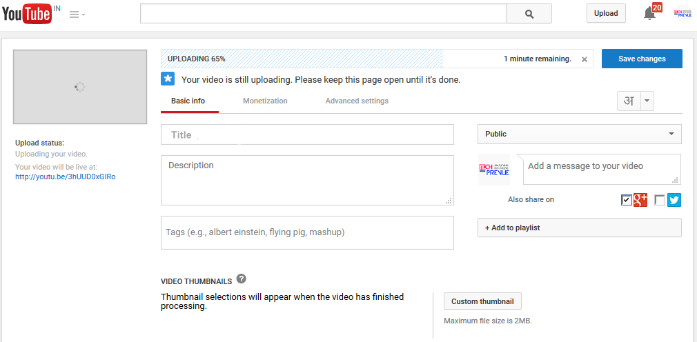YouTube Video Upload and Processing