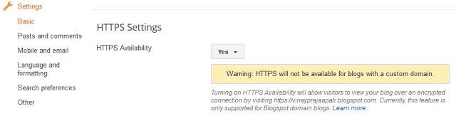 ब्लॉगर पर HTTPS कनेक्शन