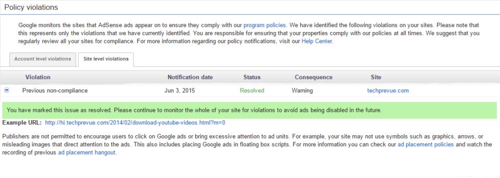 AdSense Policy Violation Notice