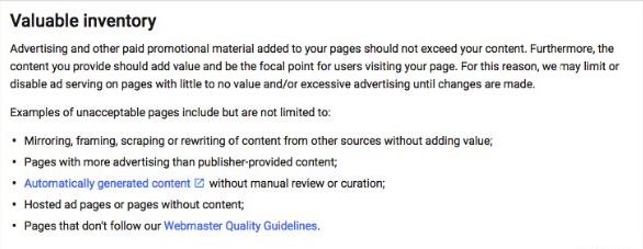 New AdSense Policy