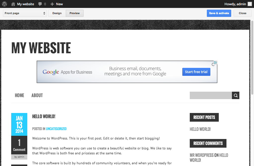 AdSense ads on WordPress site