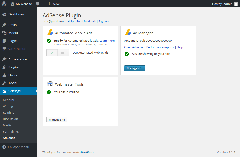 WordPress AdSense Plugin Settings