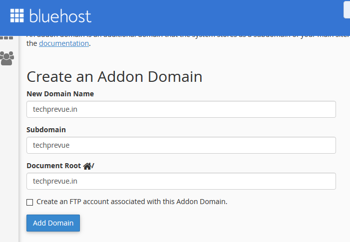 Addon Domains Setup