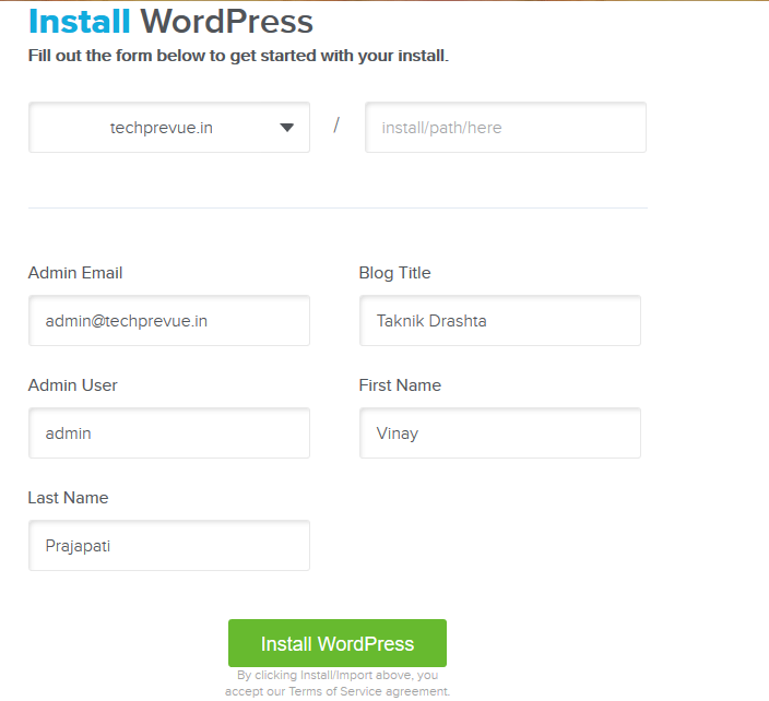 Bluehost CPanel QuickInstall WordPress Setup