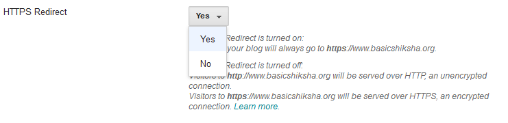 Enable HTTPS Redirect on A Blog- Google Blogger