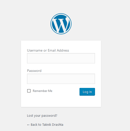 WordPress Dashboard Admin Area Login