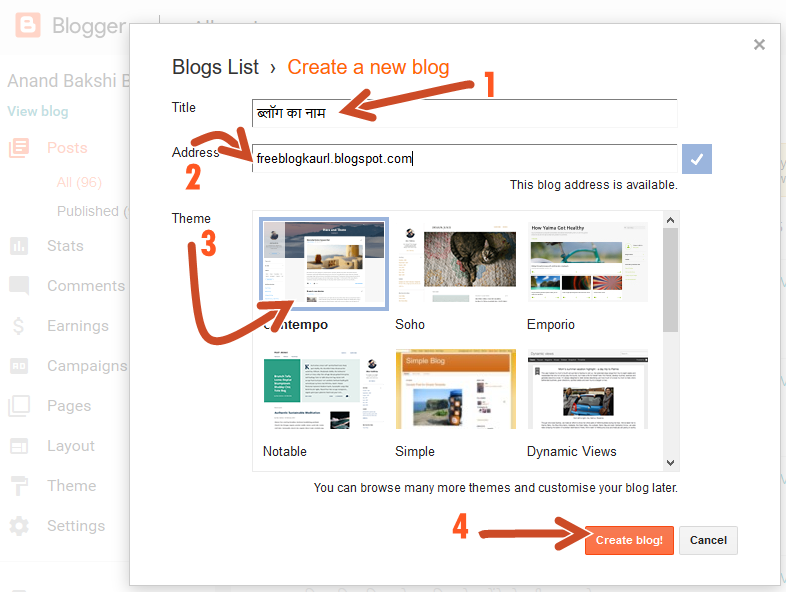 Google Blogger Create a new blog