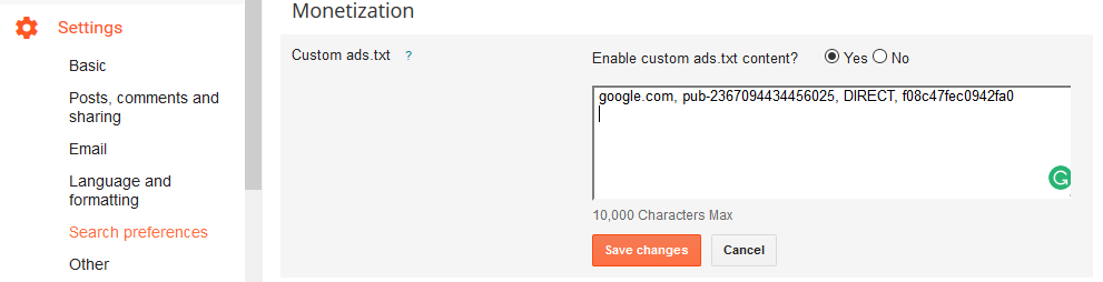 Blogger settings search preferences custom ads.txt yes