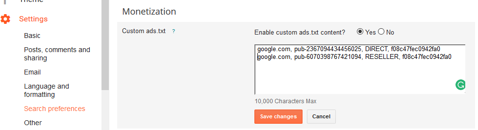 Blogger settings search preferences custom ads.txt yes 2