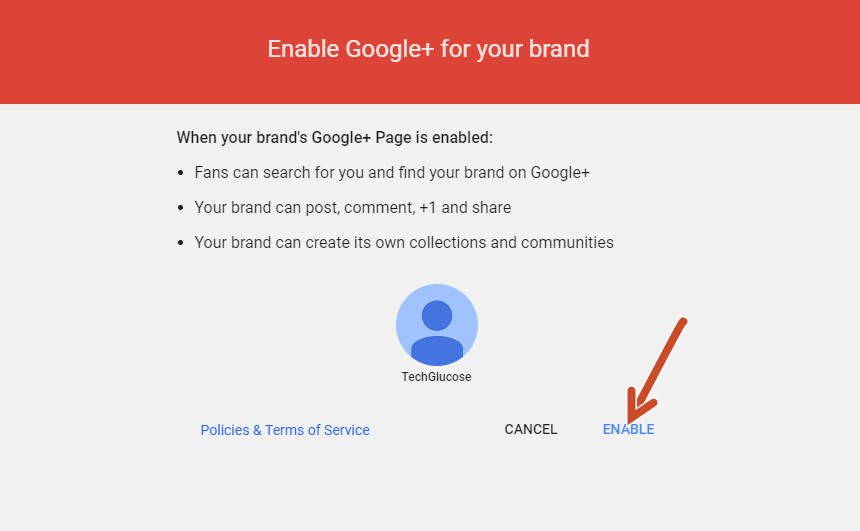 Enable Google plus for your brand