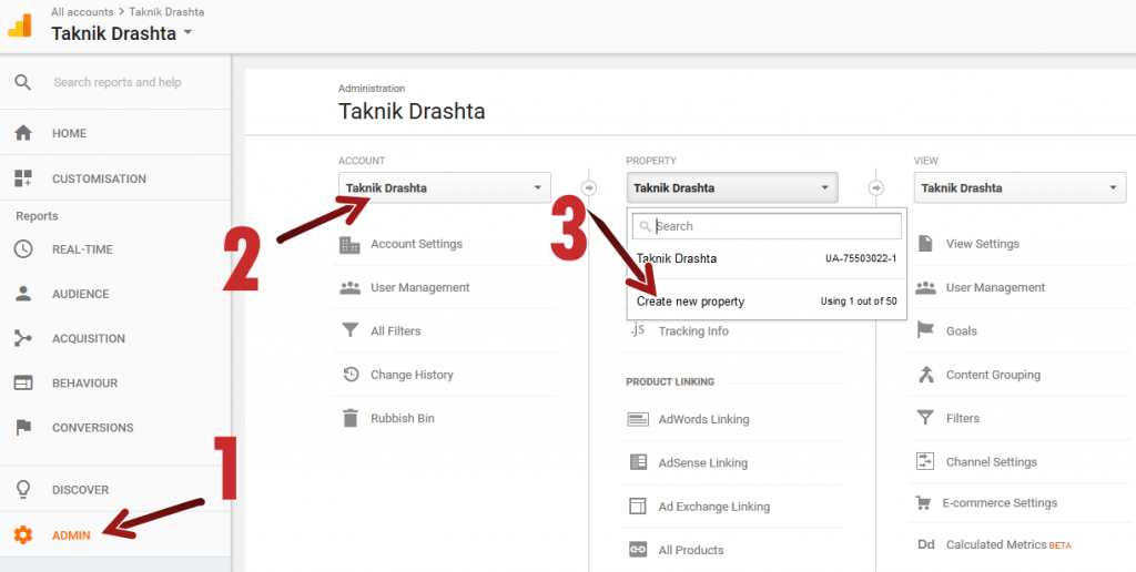 Google Analytics Admin Account Property गूगल एनालिटिक्स एडमिन अकाउंट प्रापर्टी